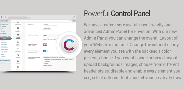 control panel - Envision - Responsive Retina Multi-Purpose Theme